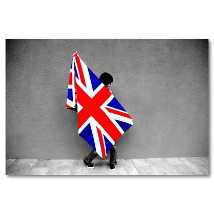 Αφίσα (Αγγλία, σημαία, κορίτσι, μαύρο, λευκό, άσπρο)